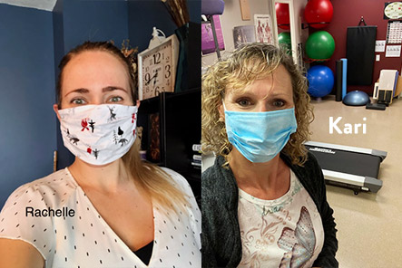 friendly physiotherapist and massage therapist wearing safe covid-19 medical masks